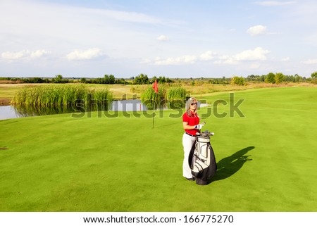 Portrait of a female golfer.Copy space