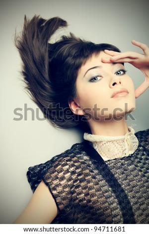 Portrait of a female model, fashion shot. - stock photo