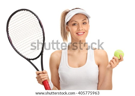 Portrait of a female tennis player holding a racket and a ball isolated on white background