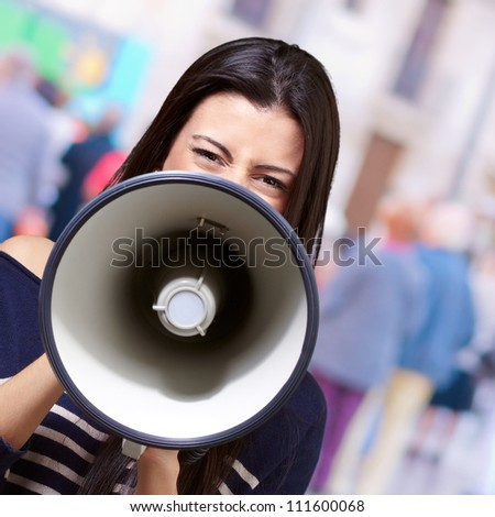 Portrait Of A Female With Megaphone, Outdoor - stock photo