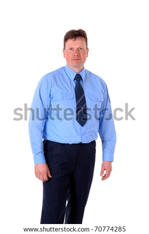 Portrait of a firefighter in uniform against a white background - stock photo
