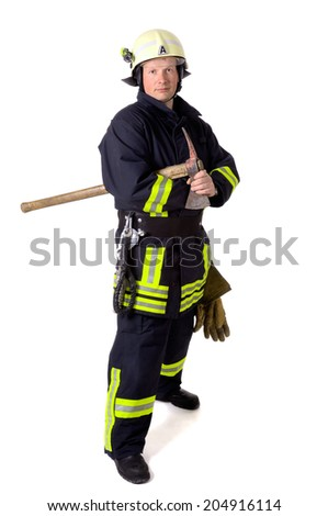 Portrait of a firefighter in work uniform - stock photo
