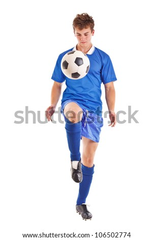 Portrait of a footballer or soccer player cut out on a white background - stock photo