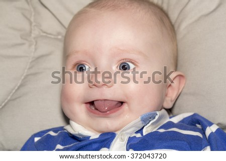 Portrait of a four months old baby boy  caucasian happiness and beauty, family