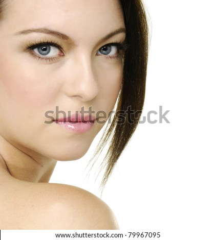 portrait of a fresh and beautiful young woman-close up - stock photo