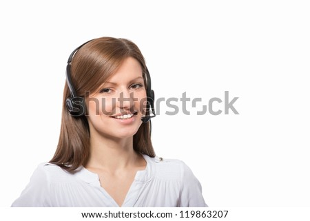 Portrait of a friendly call center operator, on white background  ,