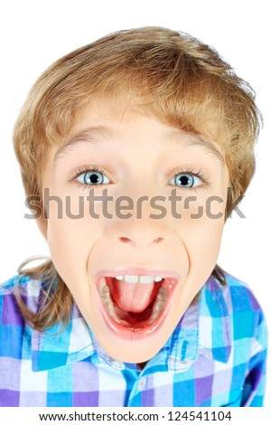 Portrait of a funny emotional 9 year boy. Isolated over white background. - stock photo