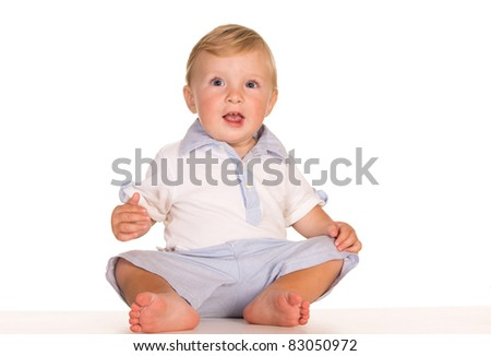 portrait of a funny kid on white