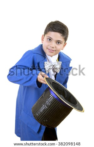 Portrait of a funny little boy in mad hatter costume while saluting  and bowing against isolated white background. - stock photo