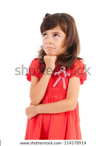 Portrait of a funny spoiled little girl isolated on white background - stock photo