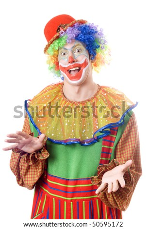 Portrait of a funny young clown. Isolated on white