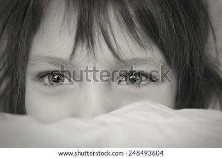 Portrait of a Girl. big eyes - stock photo