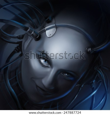 Portrait of a girl cyborg, robot, technogenic monster - stock photo