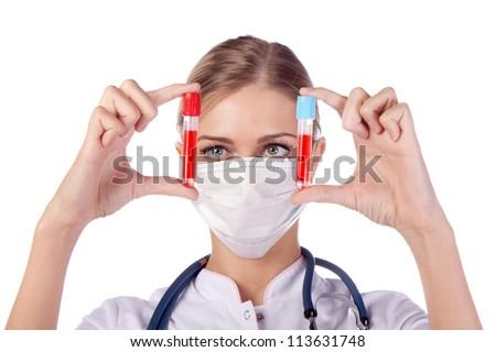 Portrait of a girl doctor. phonendoscope, blood analysis - stock photo