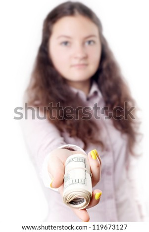 portrait of a girl giving money isolated on white background