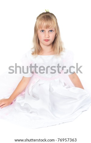Portrait of a girl in a dress for first communion - stock photo