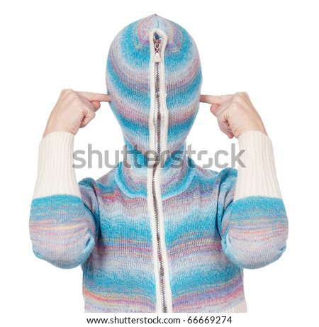 Portrait of a girl in cardigan with a hood with no face. Hear no evil.