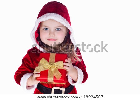 Portrait of a girl in costume of  Santa Claus with gift box in her hand
