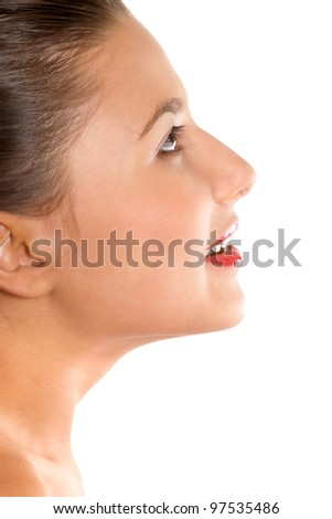 portrait of a girl in profile on a white background