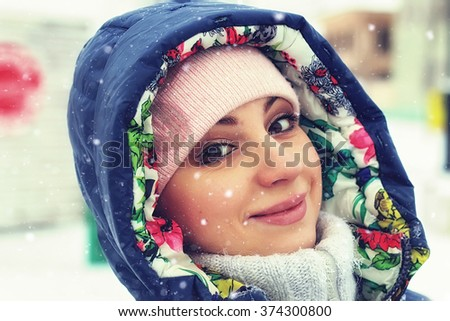 portrait of a girl in the winter