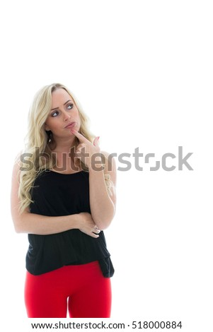 Portrait of a Girl Looking Thoughtful and Concerned Against a White Background