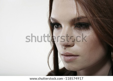 portrait of a girl on white background