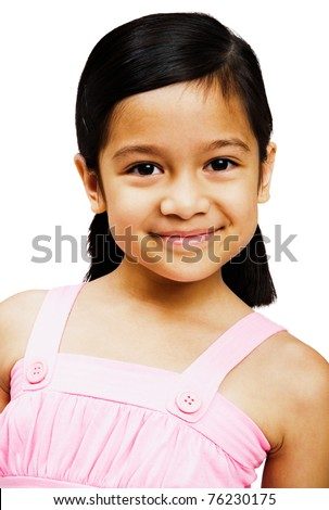 Portrait of a girl smiling and posing isolated over white