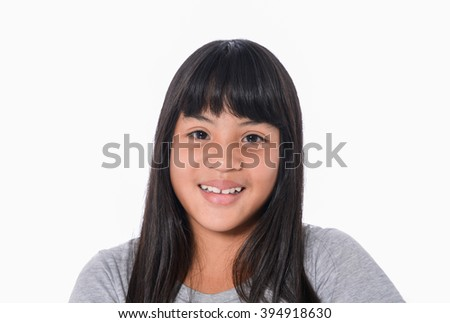 Portrait of a girl teenager. Isolated over white background