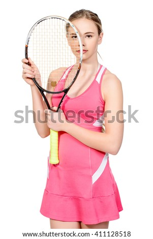 Portrait of a girl tennis player with her racket. Studio shot. Isolated over white. Professional sports, tennis.