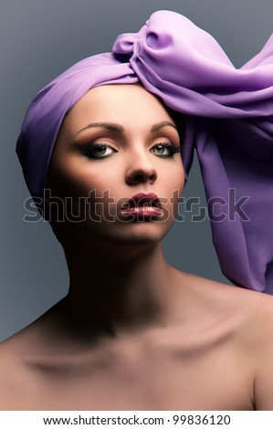 portrait of a girl with a bandage on his head - stock photo