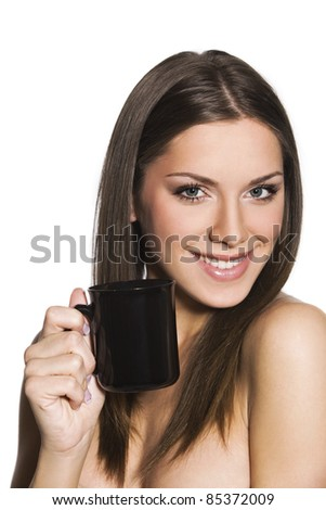 portrait of a girl with a cup of coffee or tea