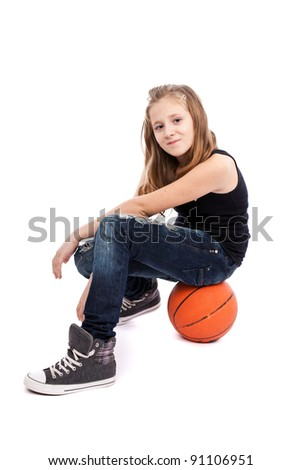 Portrait of a girl with basketball isolated on white background - stock photo