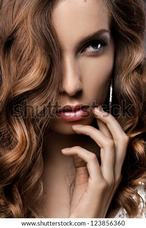 portrait of a girl with beautiful hair - stock photo