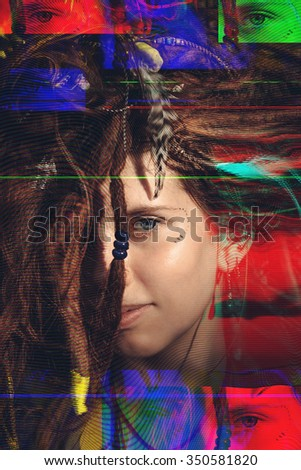 Portrait of a girl with dreadlocks distorted with glitch technique - stock photo