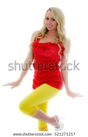 Portrait of a Girl With Movement Being Silly and Having Fun Against a Whiter Background