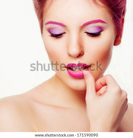 portrait of a girl with pink eyebrows, makeup art