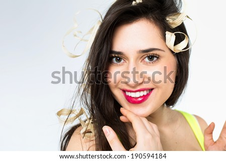 Portrait of a girl with sawdust on the hair - stock photo