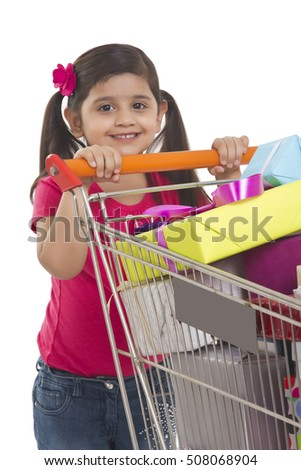Portrait of a girl with shopping cart