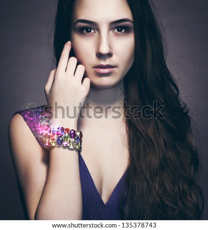 Portrait of a girl wristband