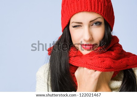 Portrait of a gorgeous happy young winter fashion cutie.