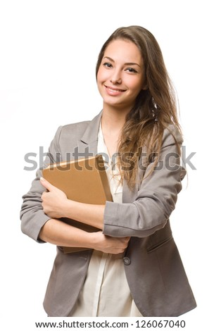 Portrait of a gorgeous stylish happy young student woman. - stock photo