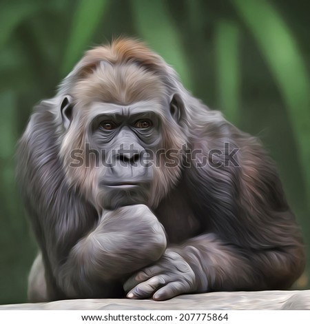 Portrait of a gorilla female on green forest background. Human like expression of the great ape, the biggest primate of the world. Amazing illustration in oil painting style. Beauty of the wildlife. - stock photo