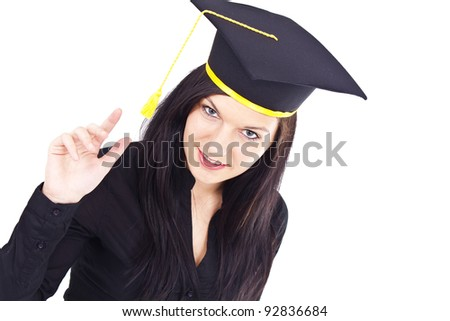 Portrait of a graduating, attractive woman, whit isolated background - stock photo