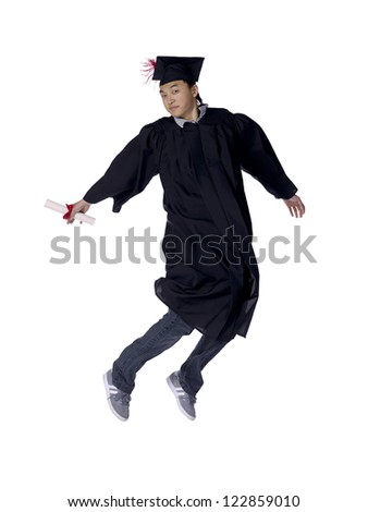 Portrait of a graduating man holding his diploma leaping on air