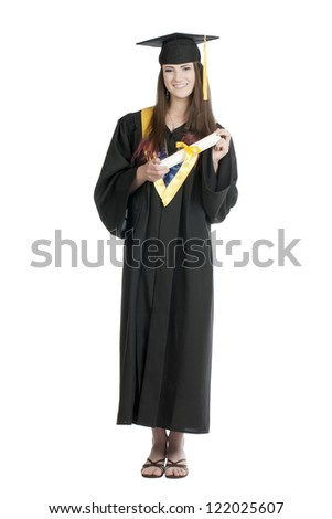 Portrait of a graduating student holding her diploma isolated on a white surface