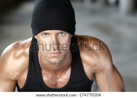 Portrait of a great looking young tough guy - stock photo
