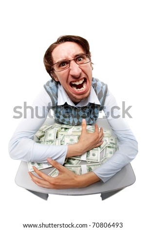 Portrait of a greedy man hiding his money