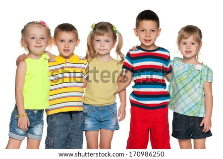 Portrait of a group of five joyful children on the white background