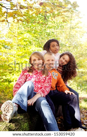 Portrait of a group of four diverse and mixed race teenagers friends sitting together and smiling in an autumn forest park during a sunny day in the fall season, outdoors. - stock photo