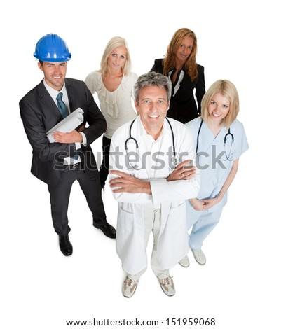 Portrait of a group of professionals isolated on white background - stock photo